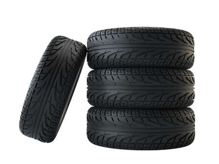 New tyres, isolated on white background Imagens