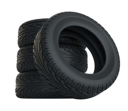 Car tires isolated on white Stock Photo - 96202394