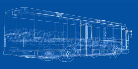 Concept city bus. Vector rendering of 3d. Wire-frame style. The layers of visible and invisible lines are separated.