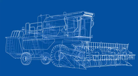 Concept combine-harvester. Vector rendering of 3d. Wire-frame style. The layers of visible and invisible lines are separated.