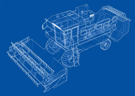 Concept combine-harvester. Vector rendering of 3d. Wire-frame style. The layers of visible and invisible lines are separated