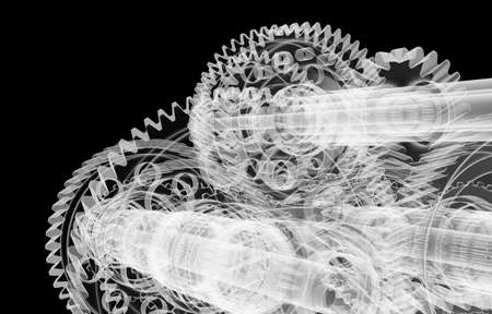 Gears, shafts and bearings. X-ray render Stock Photo
