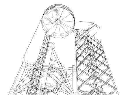 Wire frame industrial equipment vector.