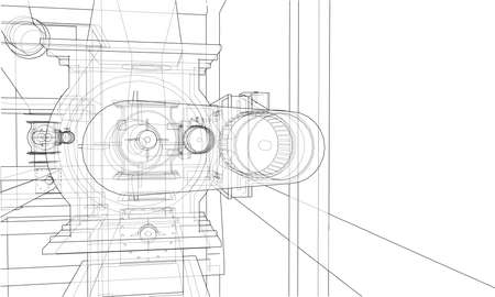 Wire-frame industrial equipment. Vector rendering of 3d. The layers of visible and invisible lines are separated