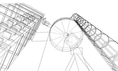 Wire frame industrial equipment vector rendering of 3d. The layers of visible and invisible lines are separated.