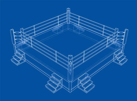 Boxing ring. Vector rendering of 3d. Wire-frame style. The layers of visible and invisible lines are separated