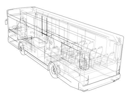 Concept city bus. Vector rendering of 3d. Wire-frame style. The layers of visible and invisible lines are separated Illusztráció