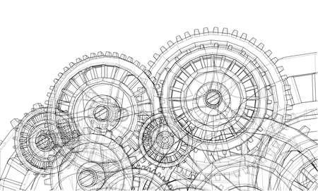 Gearbox sketch illustration.