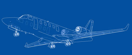 Airplane blueprint sketch illustration. Stock Illustratie