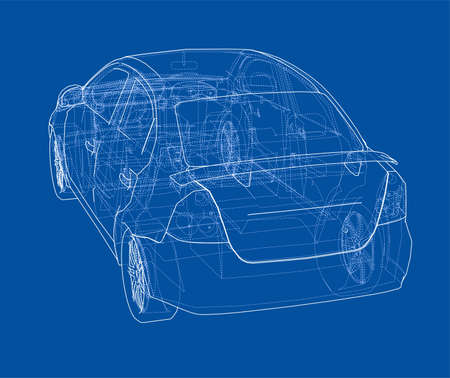 Back of car blueprint 3d concept illustration royalty free cliparts back of car blueprint 3d concept illustration stock vector 97271510 malvernweather Choice Image