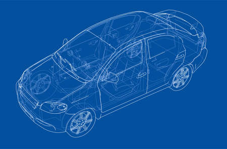 Blueprint drawing of a car model concept, vector illustration isolated on blue