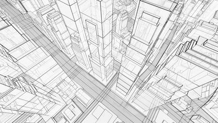 Sketch of modern city, aerial view Stock Photo