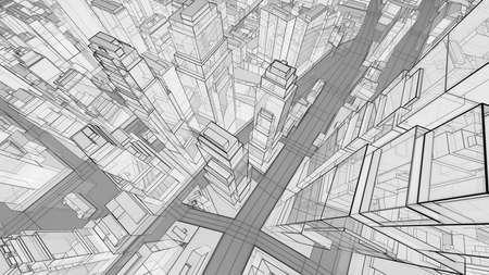 Sketch of modern city, aerial view Stock fotó