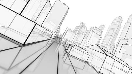 Sketch of modern city, perspective view