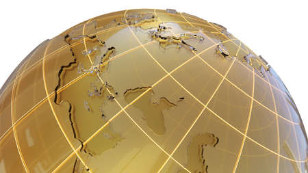 Golden globe with glass continents Stock Photo