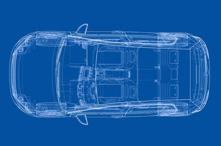 Car 3D blueprint illustration. Ilustrace