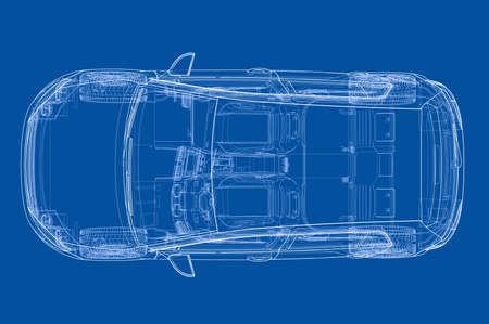 Car 3D blueprint illustration. Vettoriali