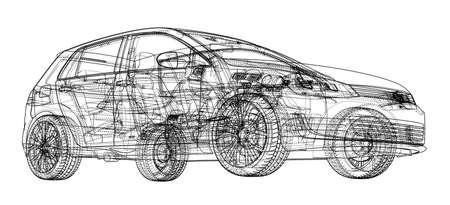 Car sketch vector illustration. Ilustrace
