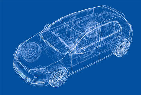 Car 3D blue print illustration.