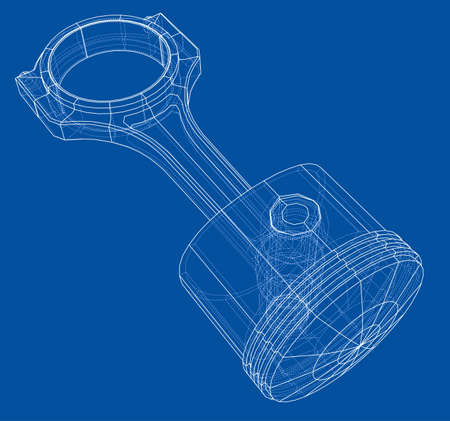 Sketch of piston. Vector rendering of 3d