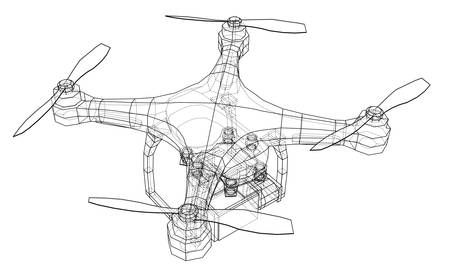 Qadrocopter or drone vector illustration. Vettoriali