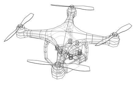 Illustrazione vettoriale di Qadrocopter o drone. Vettoriali
