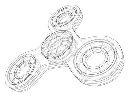 Hand spinner outline on white background. Vector illustration.