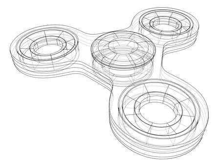 Hand spinner outline. Vector Vettoriali
