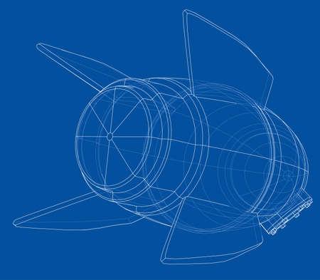 Rocket sketch. Vector rendering. Illustration