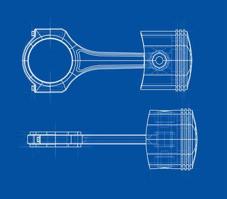 Sketch of piston, rendering of 3d Illustration.