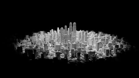 Middle of 3d city is illuminated by a spotlight