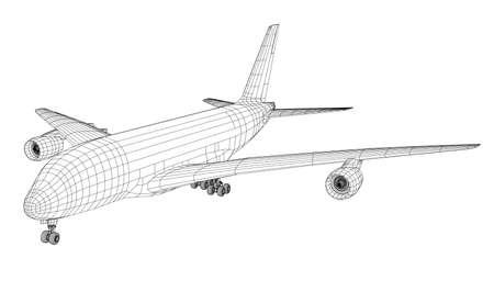 Passagierflugzeug . 3D-Darstellung Standard-Bild - 98222539