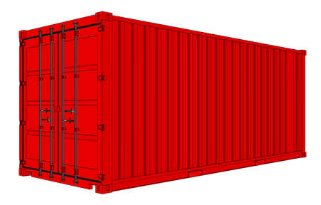 Red cargo container Stock Photo