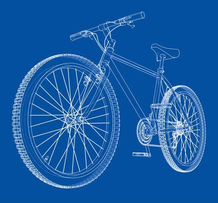 Bicycle blueprint 3d illustration
