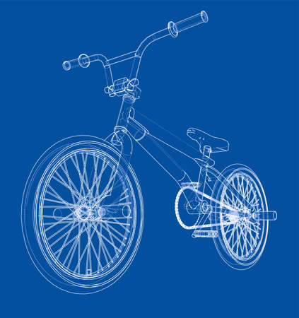 Bicycle bmx. 3d rendering. Wire-frame style on blue background