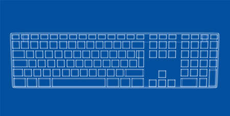 Computer keyboard outline. Vector rendering of 3d. Wire-frame style.