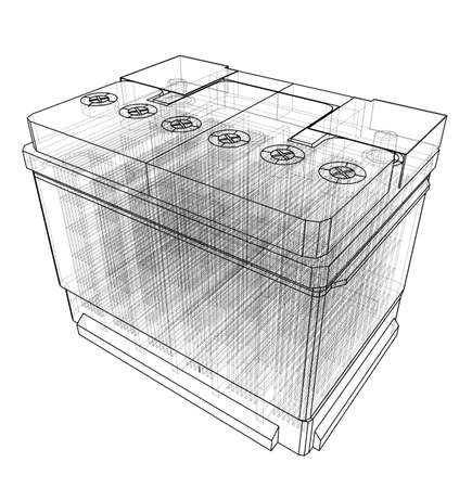 Battery car outline. Vector rendering of 3d. Wire-frame style.