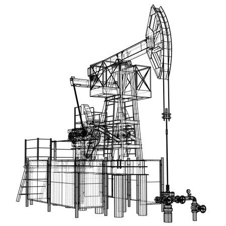 Oil pump jack in wire-frame style 스톡 콘텐츠