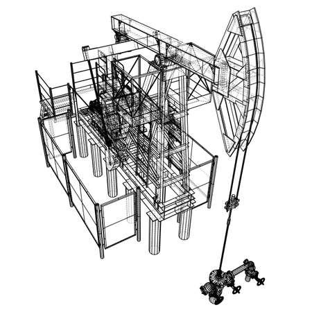 Oil pump jack in wire-frame style Standard-Bild