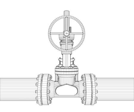 Industrielles Ventil . 3D-Darstellung Standard-Bild - 98625703