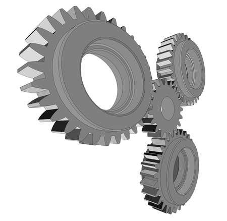 3d illustration of three metal gears Stock Photo