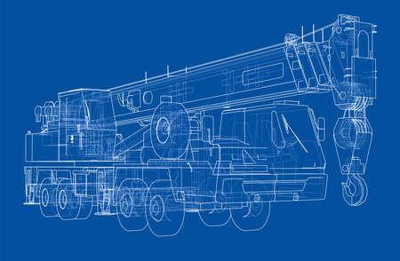 Mobile crane blueprint 写真素材