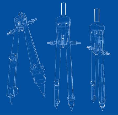 Set of compasses sketch
