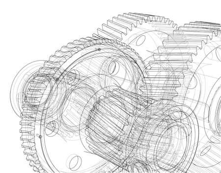 Gearbox sketch. 3d illustration