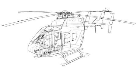 Umrisszeichnung des Hubschraubers Standard-Bild - 98710958