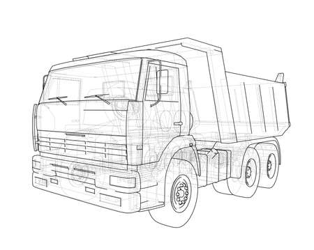 Dump truck. 3d illustration