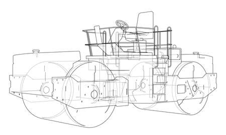 Construction machine. Asphalt compactor outlined vector rendering of 3d. The layers of visible and invisible lines are separated Stock Illustratie