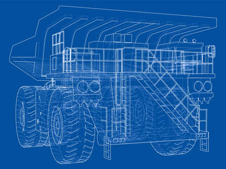 Big truck outlined vector rendering of 3d. The layers of visible and invisible lines are separated