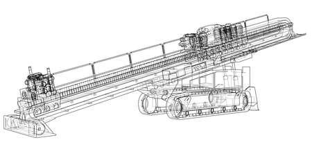 Horizontal directional drilling machine vector  イラスト・ベクター素材