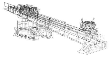 Horizontal directional drilling machine Vector illustration. Vetores
